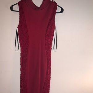 Long lace body con dress